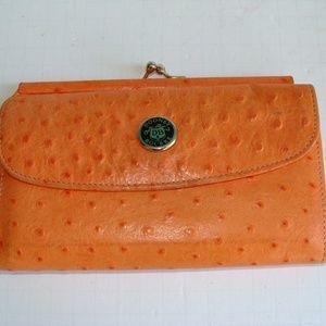 Dooney Bourke  orange ostrich wallet